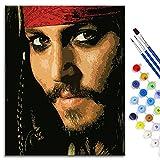 BOVIENCHE Kit de Pintura al óleo de Bricolaje por número, Pinturas de Piratas del Caribe, Lienzo Impreso, decoración del hogar, 50x40 cm, Enmarcado, Jack Sparrow