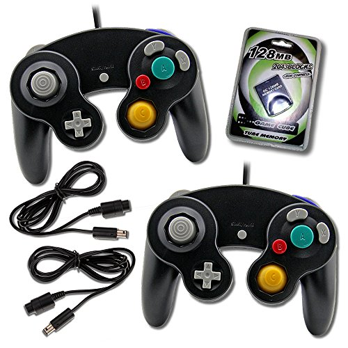 Gamecube Controller (2 Pack) Bundle with 2 Wired Controllers, Extension Cords and 128MB Memory Card - Nintendo Gamecube Controller Official Bundle Pack by EVORETRO