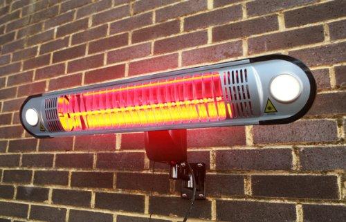 Primrose Firefly 1.500 Watt Infrarot-Heizstrahler (Halogen) Terrassenheizung, Wandmontage, inkl. LED-Beleuchtung und Fernbedienung