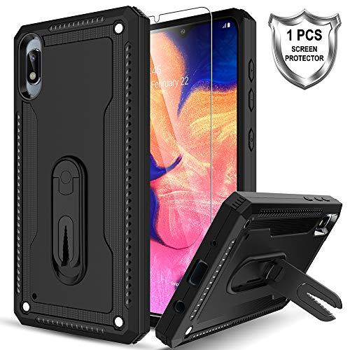 LK Hülle für Samsung Galaxy A10, [Rotierender Ständer] Fall geprüfte stoßfeste Telefon hülle mit Panzerglas Folie[1 Stück] für Samsung Galaxy A10 - Schwarz