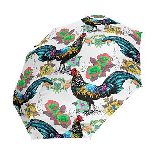 Faltbarer Reise-Regenschirm, Aquarell, Bauernhof, Hahn, Blumen, Kunst, Sonnenschutz, winddicht, regendicht, tragbar, automatischer Sonnenschirm