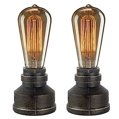 JINYU Vintage American Village Lampada da tavolo creativa Ferro da notte in acciaio Pipa ad acqua Lampade da tavolo, Lampade da comodino, Lampada industriale Steampunk Retro Base E27,2 Pacchetti