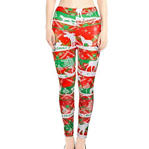 Konsait Christmas Legging for Women, Xmas High Waisted Yoga Pants, Soft Tight Pants, Stretchy Christmas Tree Elk Snowflake Fitness Yoga Pants for Female Christmas Holiday Party Favor Supplies
