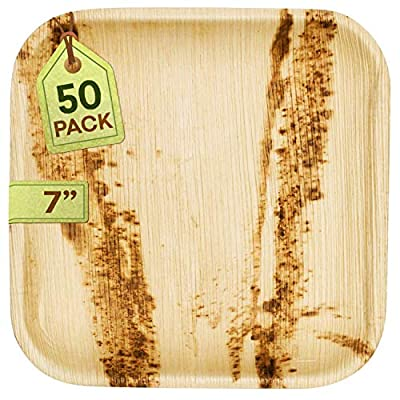 "[50 Pack] Eco-Friendly Palm Leaf Plates - Like Bamboo Plates Disposable - Compostable and Biodegradable Square Plates - 50 x 7"" Plates"