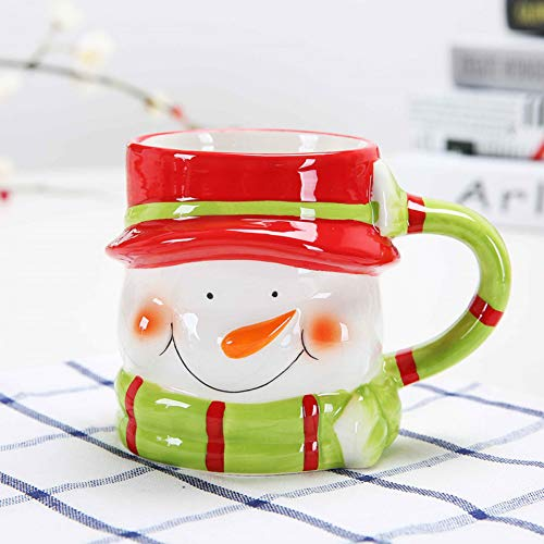 HMKZXQ 380 Ml Keramik Becher Kreative Cartoon Schneemann Tasse Neuheit Weihnachtsbecher
