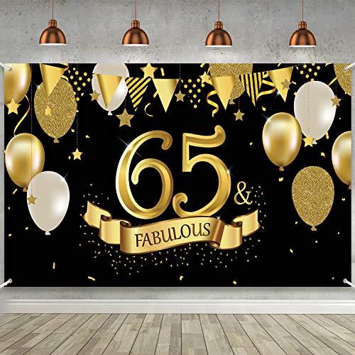 Cartel de 65 Cumpleaños, Póster de Tela Grande Negro Dorado Decoración para Fiesta de 65 Cumpleaños Aniversario, Pancarta de Foto de 65 Cumpleaños Fondo de Foto de Fiesta de 72,8 x 43,3 Pulgada