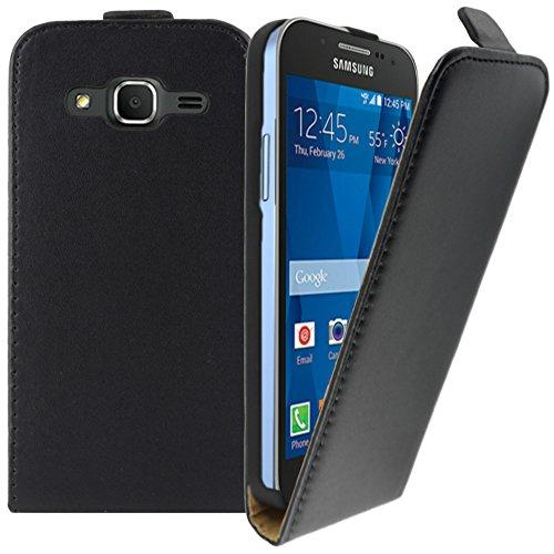 ebestStar - Funda Compatible con Samsung Galaxy Core Prime SM-G360F, 4G SM-G361F VE Carcasa Ventana Vista Cover Cuero PU, Funda Libro Billetera, Negro [Aparato: 130.8 x 67.9 x 8.8mm, 4.5'']