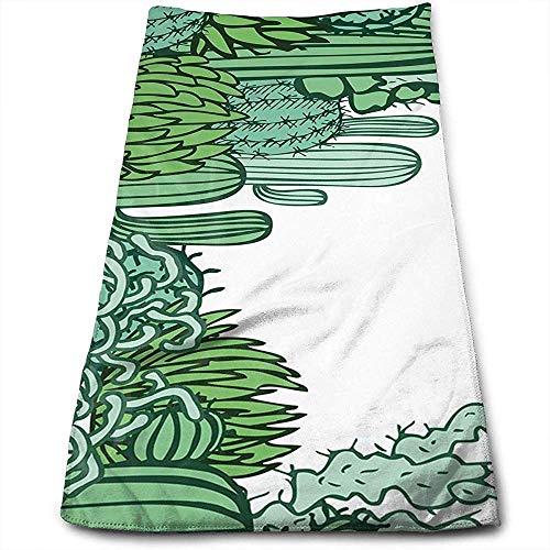 Bert-Collins Towel Arizona Desert Doodle À Thème Cactus Personnalité Amusant Modèle Serviettes De Toilette Fibre Superfine Super Absorbant Doux Serviettes De Gym