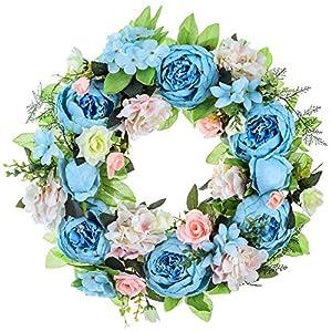 15″ Peony Hydrangea Wreath,Artificial Peony Flower Wreath Door Wreath with Green Leaves Spring Wreath for Front Door,Wedding,Wall, Home Decor
