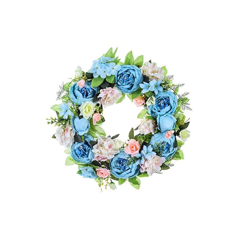 "silk flower arrangements 15"" peony hydrangea wreath,artificial peony flower wreath door wreath with green leaves spring wreath for front door,wedding,wall, home decor"