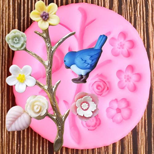 FGHHT Bird Silicone Molds Flower Tree Branches Cupcake Topper Fondant Mold Cake Decorating Tools Chocolate Candy Clay Moulds