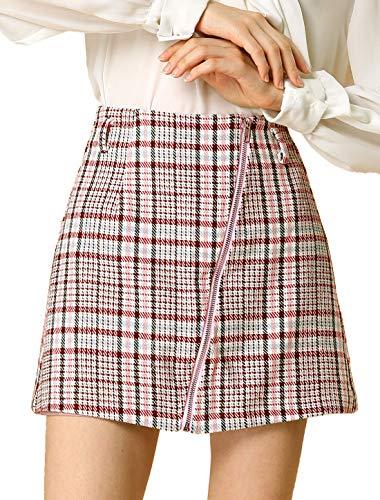 Allegra K Women's Plaid A-Line Front Full Zip High Waist Mini Skirt with Belt L Pink