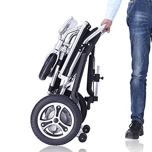 Power Chair Black - Silla de ruedas eléctrica de aleación de aluminio plegable y de...