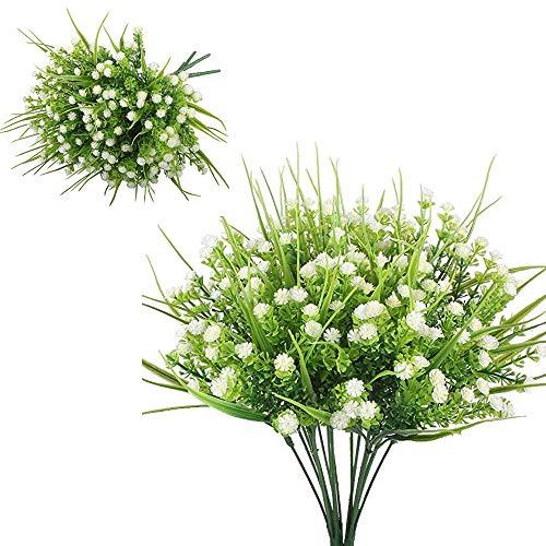 6 flores artificiales, flores artificiales artificiales para decoración de casa, jardín, fiestas, bodas, plantas de plástico para interiores y exteriores, plantas colgantes (blanco)
