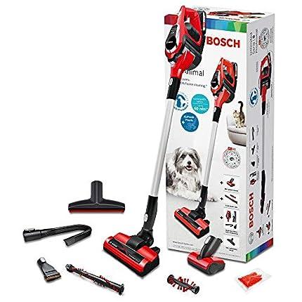 Bosch ProAnimal Unlimited Serie 8 BBS1ZOO Aspirador escoba sin cable especial mascotas, hasta 60 minutos de duración, incluye 1 batería extraíble, color rojo