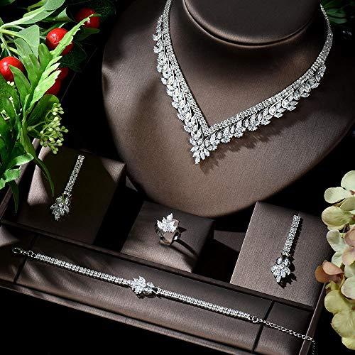Jskdzfy Juego de joyas de boda para mujer, diseño de hojas, collar y pendientes de fiesta, color chapado en platino