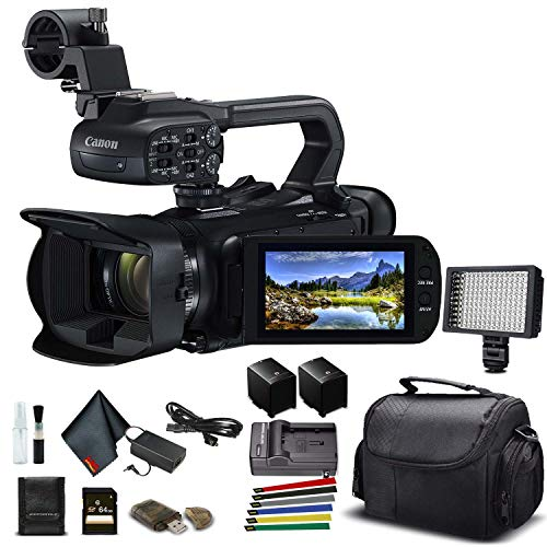 Canon XA45 Professional UHD 4K Camcorder (3665C002) W/Extra Battery, Soft Padded Bag, 64GB Memory Card, LED Light, and More Base Bundle