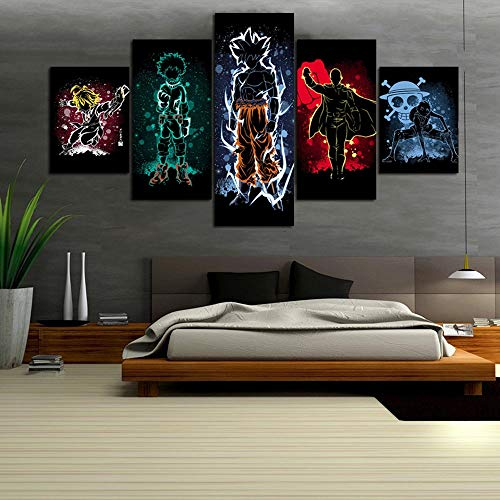 IXMAH 5 Piece Anime Dragon Ball Z Goku My Hero Academia One Punch Man Print Poster Wall Art Abstract Canvas Paintings for Home Decor (12x16in*2-12x24in*2-12x32in*1(No Frame))