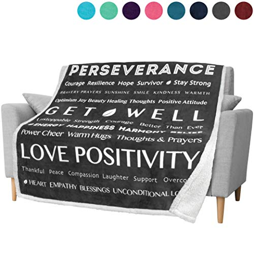 PAVILIA Healing Thoughts Blanket, Sherpa Fleece Throw for Women Men | Positive Energy Inspirational Gift Warm Hugs Prayer Blanket | Get Well Soon Gift Blanket for Cancer Recovery | 50 x 60 in (Grey)