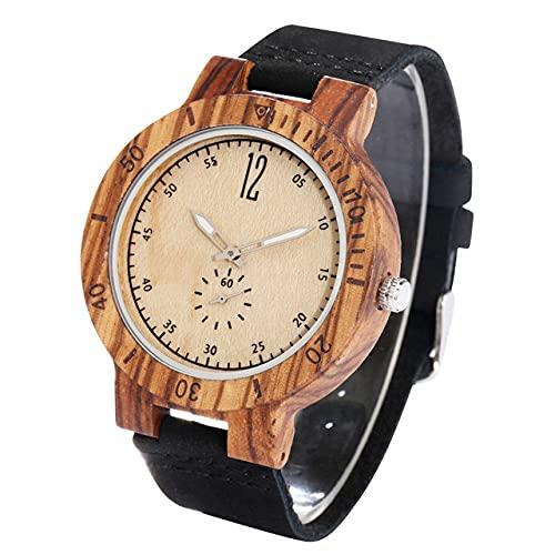 RWJFH Reloj de Madera Reloj de Cuarzo de Madera de bambú con Esfera roja de Moda para Hombres, Segundos creativos, Esfera pequeña, Relojes de Madera de Cuero para Hombres, Esfera Blanca, Banda Negra
