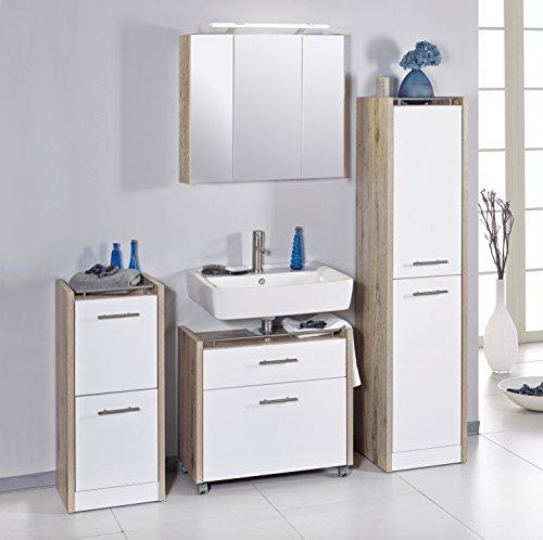 Schildmeyer 701026 Badmöbel Set Trient, Holz, wildeiche weiß, 160 x 35 x 157.5 cm