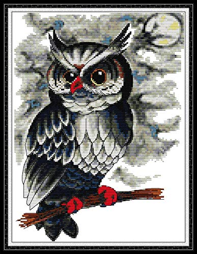 YEESAM ART Cross Stitch Kits Stamped for Adults Beginner Kids, Owl at Night 11CT 35×43cm DIY Embroidery Needlework Kit with Easy Funny Preprinted Patterns Needlepoint Christmas (Owl)