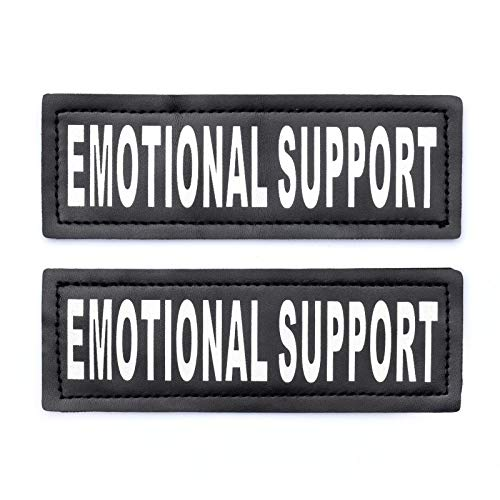 Industrial Puppy Emotional Support Dog Patch Tag with Hook Back - Reflective Lettering on ESA Patch for Vest, Harness, or Collar - Set of Two Emotional Support Dog Patches for ESA Vest