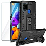 YIRSUR Cover for Samsung Galaxy A21S Case + Tempered Glass Screen Protector, Shockproof Case Ring Holder...