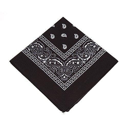 Boolavard Nationale Baumwolle Paisley Bandana Doppelseitige Leiter Verpackungs-Schal-Armband (Schwarz)