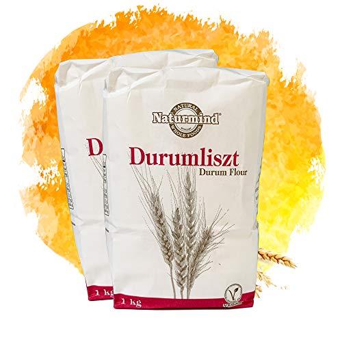 Naturmind Durummehl / Hartweizenmehl 2erPack(2x1000g) / für Nudeln, Pizza, Waffeln / Vegan Produkte