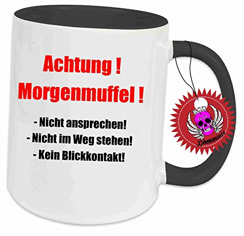 Klebemonster24 Tasse Schwarz voll mit Aufdruck Spruch Achtung Morgenmuffel … Geschenk Geburtstag Kaffee Becher Tasse Tee Keramik Arbeit Chef Büro Bedruckt