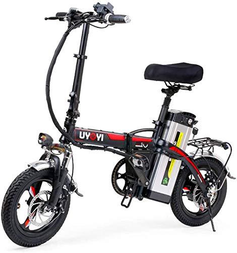Bicicleta eléctrica de nieve, Bicicleta eléctrica plegable 14 pulgadas de bicicleta eléctrica 3 Modos de equitación con frenos de disco dual 48V / 18AH Velocidad 35km / h Batería extraíble LCD 400W Eq