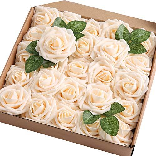 JaosWish Künstliche Rosen, fühlen sich echt an, Schaumstoff-Rosen, künstliche Blumen für DIY Blumenstrauß, Hochzeit, Party, Heimdekoration, 50 Stück