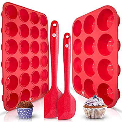Baking & Beyond Premium Silicone Muffin Pan - Non Stick Silicone Cupcake Pan - 12 Cup Muffin Tray, 24 Cups Mini Cupcakes Pans - Silicon Muffin Molds - Silicone Baking Set - 2 Spatulas