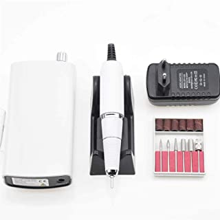 YX Portable Rechargeable Nail Drill Machine 36W 35000RPM Manicure Machine Electric Nail File Nail Art Tools Set for Nail Drill bits (Color : White)