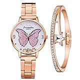 Damenuhr Roségold Damen Uhr Schmetterlingsmuster Elegant Wasserdicht Armbanduhr Lässige Analoge Metall Mesh Uhren für Frauen Damen Mädchen Ultradünne Set mit Armreif(Rosa)