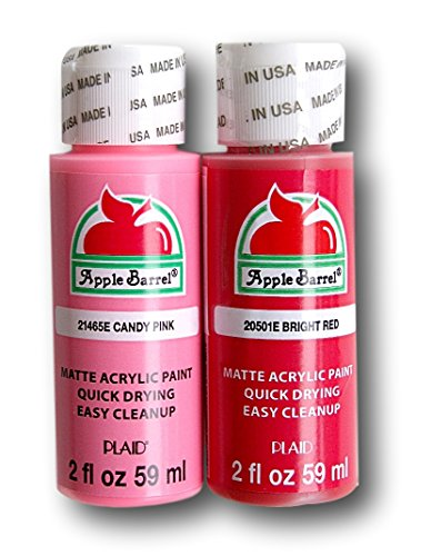 Apple Barrel Acrylic Paint Valentines - Bright Red and Candy Pink