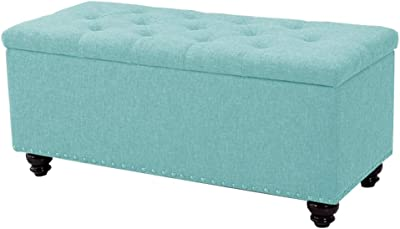 LJFYXZ Ottoman Footstool Fabric Sofa Stool Rivet Decoration Hinged Cover Bedroom Bed end Stool Natural Wood Legs 100x45x45cm (Color : Blue)