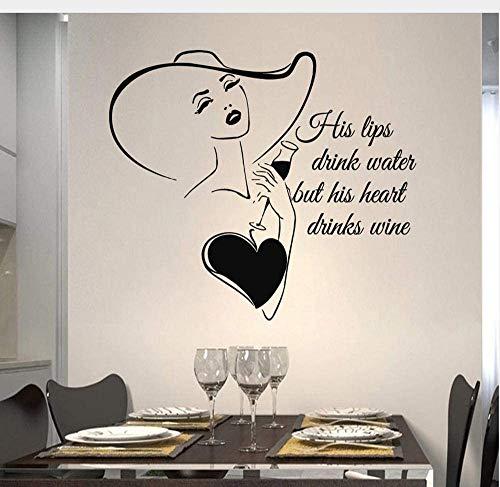 Pegatinas De Pared De Cocina Mujer Calcomanía De Vinilo De Copa De Vino Citas Sus Labios Barra De Agua Potable Interior Wine Art Mural Decoración Para El Hogar 42X48 Cm