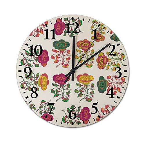 DKISEE Silent Wooden Wall Clock Roses Pattern Decorative Simple Round