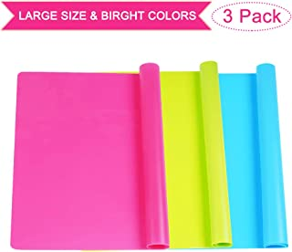 """3 Pack Extra Large Silicone Sheets for Crafts, Liquid, Resin Jewelry Casting Molds Mat, Multi-Purpose Food Grade Silicone Placemat. 15.7"""" x 11.8"""" (Blue & Rose Red & Green)"""