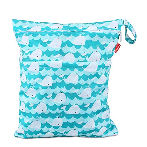 Damero Cloth Diaper Wet Dry Bag with Handle for Swimsuit, Pumping Parts, Wet Clothes and More, Ideal for Travel, Exercise, Daycare, Swimming, Reusable and Water-Resistant (Large,Cute Whale)