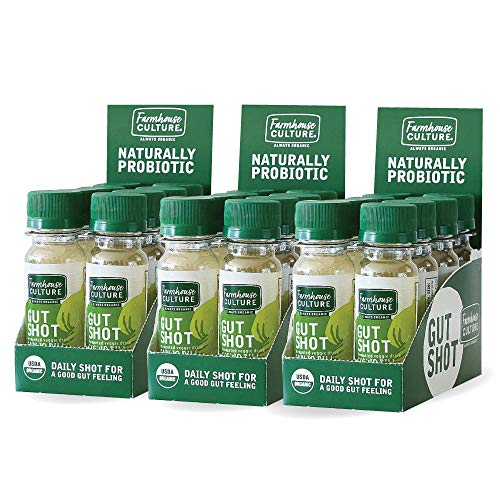 Live Probiotic Shots, Immunity Boost & Gut Health, Organic & Fermented 24-Pack Garlic Dill Gut Shot by Farmhouse Culture