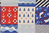 Fabrics-City WEIß/BLAU/ROT MARITIM BAUMWOLLDRUCK Baumwolle