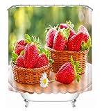 fptcustom Erdbeer 3D Obst Duschvorhänge Muster Bad Vorhang Wasserdicht Verdickt Bad Vorhang 180X200 cm Mit Haken