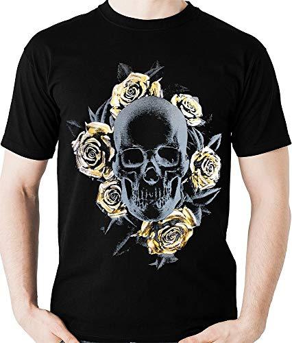 Camiseta Caveira E Rosas Douradas Camisa Blusa Banda Rock