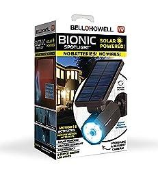 commercial Bell + Howell 2963 Bionic Spotlight Solar Spot 25ft Motion Sensor, Solar Panel, Waterproof… bell and howell