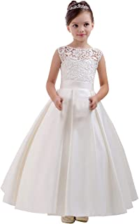 Yuxusus Two Pieces Lace Flower Girl Dress Mesh Half Sleeve Rustic Photography A Line Gown
