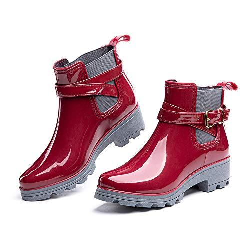 Botas de Agua Mujer Lluvia Botines Jardín Trabajo Antideslizante Tobillo Boots Chelsea Negro Marrón Azul Caqui Número 35-42 EU