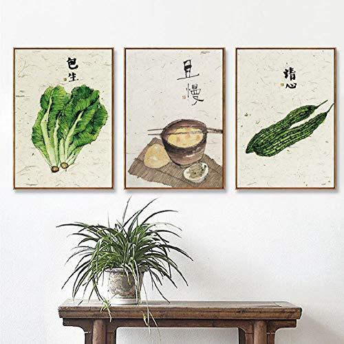 Chinese cultuur bittere kalebas sla eetstokjes snack muur canvas schilderij woondecoratie schilderen 40X60 cm X 3 (geen frame)